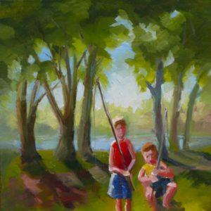 Two Boys Fishing Rock River