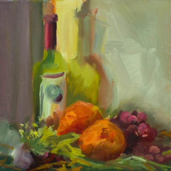 Bottle and Orange with Grapes