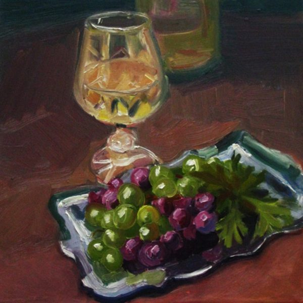 Wine Glass with Grapes